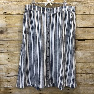 Caslon Blue Striped Button Up Midi Skirt Small